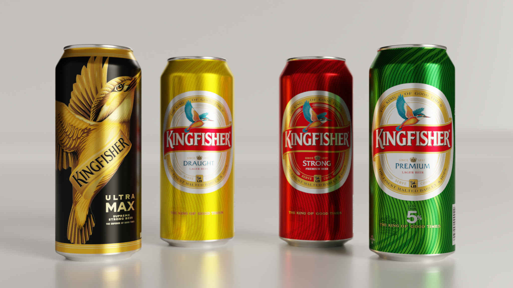 Kingfisher cans lined up