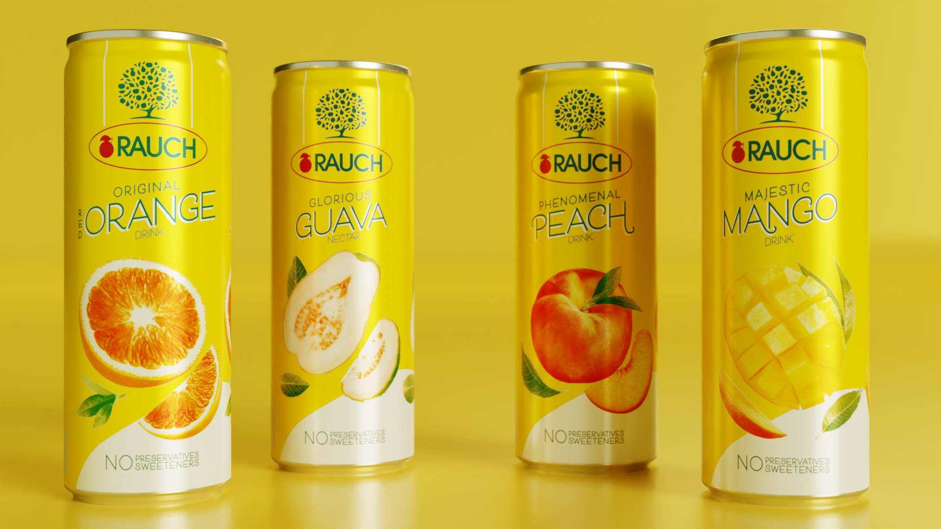 Rauch yellow cans lined up